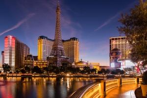 Shot at daybreak from the Belliago Hotel & Casino sidewalk.