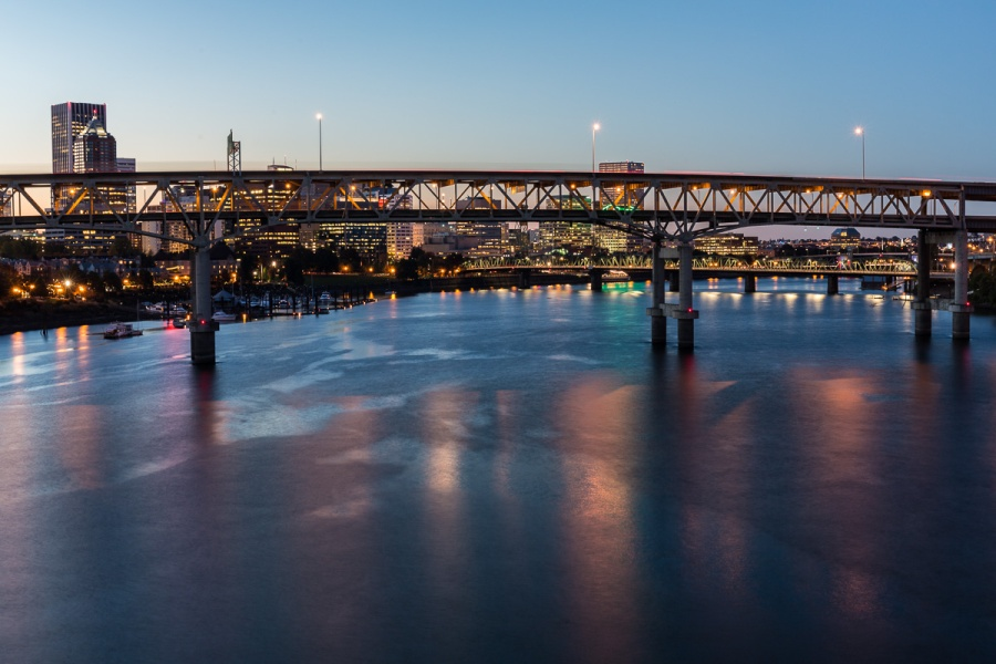 Portland & Columbia River at dusk