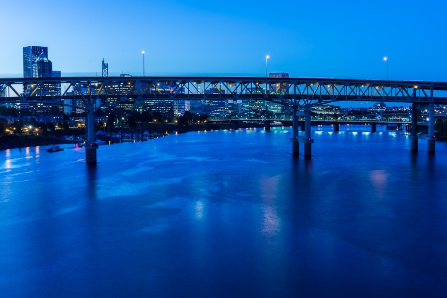 Portland & Columbia River at dusk