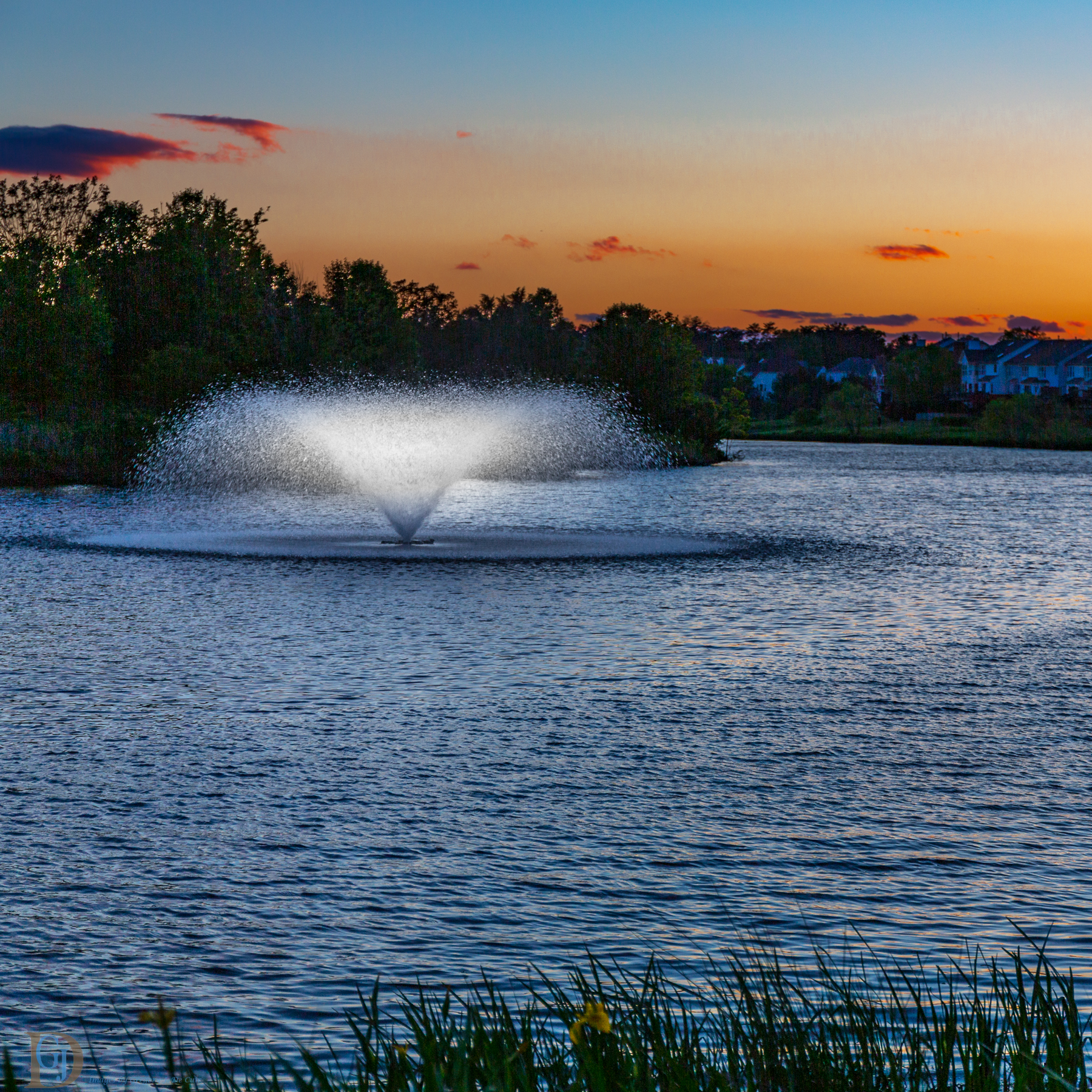 Suburban Lake at sunset